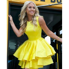 Yellow Layered High Neck Pleated Short Formal Dress HD3422