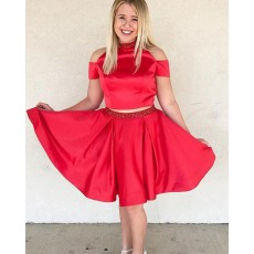 Two Piece Red Knee Length High Neck Cold Shoulder Beading Homecoming Dress HD3423