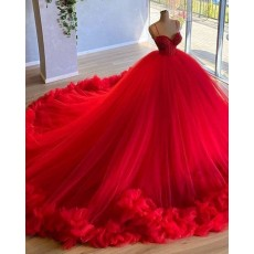 Red Spaghetti Straps Beading Bodice Tulle Ball Gown Evening Dress with Handmade Flowers PD2023
