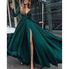Deep V-neck Satin Green Side Slit Long Sleeve Formal Dress PM1126