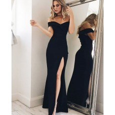 Simple Black Off the Shoulder Mermaid Prom Dress with Side Slit PM1200