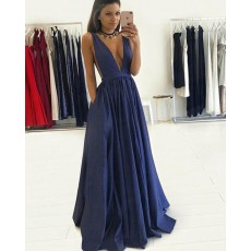 Long Navy Blue Deep V-neck Pleated Prom Dress with Pockets PM1245