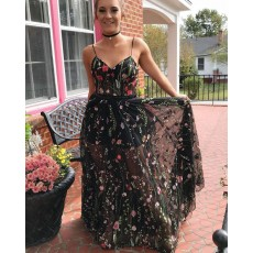Long Floral Lace Spaghetti Straps Prom Dress PM1398