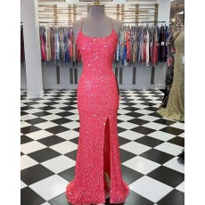 Coral Pink Spaghetti Straps Sequin Mermaid Prom Dress with Slit PM1804