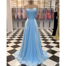 Simple Spaghetti Straps Light Blue Satin A-line Prom Dress PM1807