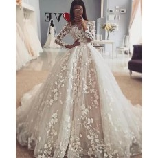 Elegant Jewel Ivory 3D Lace Flowers Long Sleeve Wedding Dress with Detachable Skirt WD2110