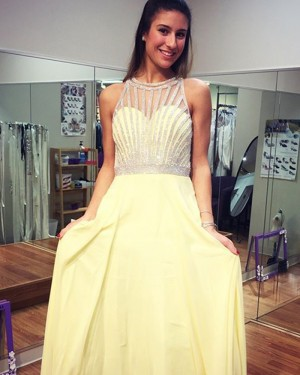 c9c0567c5b1 Floor Length Chiffon High Neck Yellow Beading Prom Dress PD1002 ...