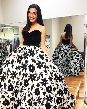 Elegant Long Floral Print Sweetheart Ball Gown Prom Dress PD1006