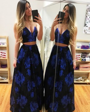 Long Sweetheart Two Piece Floral Print Satin Prom Dress PD1007