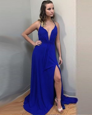 Long Blue Chiffon Spaghetti Ruched Prom Dress with Front Slit PD1011