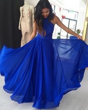 Blue Pleated High Neck Cutout Chiffon Long Prom Dress PD1013