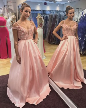 Long Pink Satin Cold Shoulder Beading Ball Gown Prom Dress PD1014