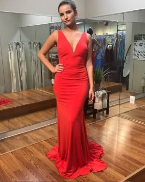 Long Red Satin Backless Deep V-neck Mermaid Prom Dress PD1015