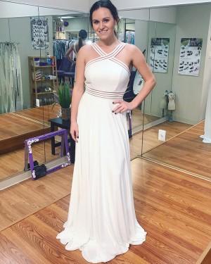Long White Chiffon Crisscross Prom Dress with Open Back PD1016