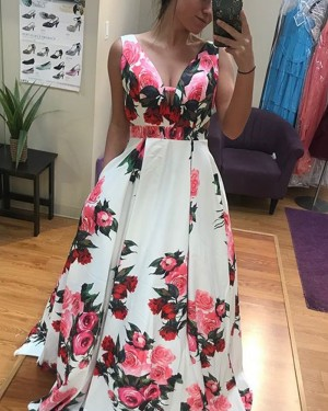 Floral Print Satin Long Prom Dress with Pockets PD1019