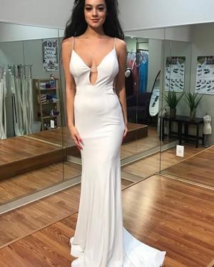 Long Spaghetti Straps Cutout White Chiffon Mermaid Prom Dress PD1020