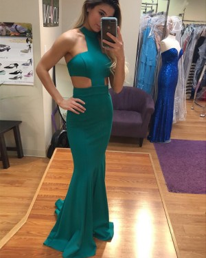 Long Green High Neck Cutout Satin Mermaid Prom Dress PD1022