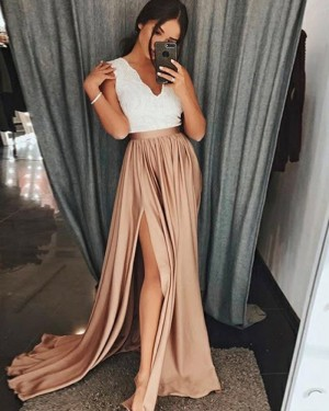 White and Brown Satin V-neck Prom Dress with High Slit PD1023