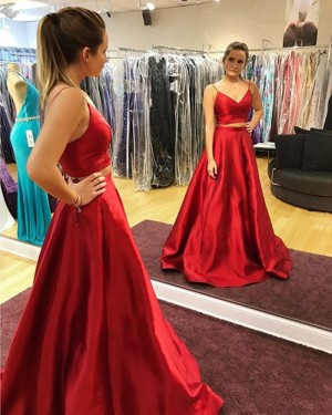295bc38953eb -17% Spaghetti Straps Two Piece Satin Red Prom Dress with Pockets PD1024