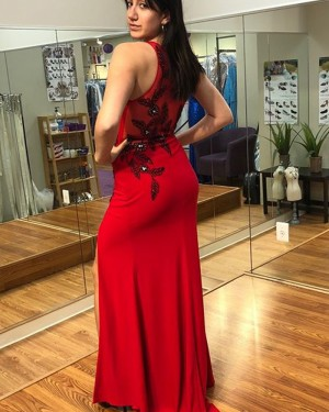 Red Appliqued Chiffon Long Scoop Sheath Prom Dress with High Slit PD1025