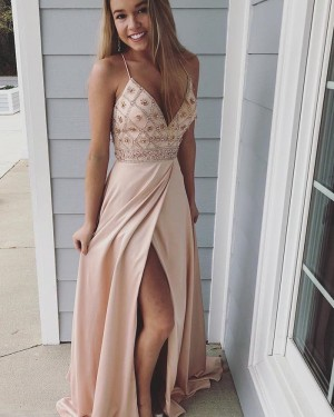 Spaghetti Straps Nude V-neck Beading Chiffon Prom Dress with Slit PD1030
