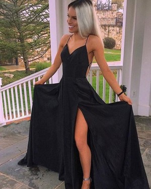 Long Black Satin Spaghetti Straps Prom Dress with High Slit PD1032