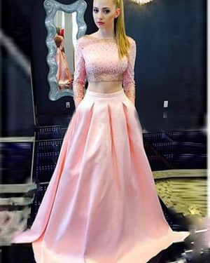 Long Sleeved Two Piece Bateau Pink Beading Satin Prom Dress with Pockets PD1035