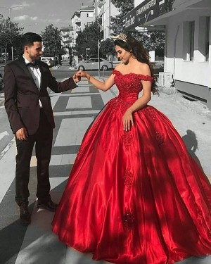 Red Satin Off the Shoulder Lace Bodice Ball Gown Prom Dress PD1036