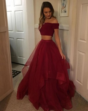 Two Piece Ruffled Tulle Burgundy Ball Gown Prom Dress PD1038