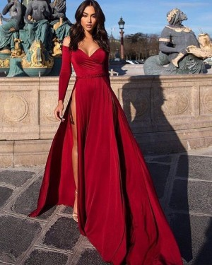 Burgundy Long Sleeved Off the Shoulder Satin Evening Dress with High Slit PD1039