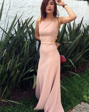 Pink Chiffon Spaghetti Straps Cutout Sheath Prom Dress PD1042