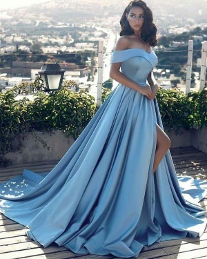 Blue Satin Pleated Off the Shoulder Dusty Evening Dress with High Slit PD1043