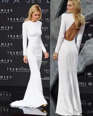 White Mermaid High Neck Evening Dress with Long Sleeve PD1045