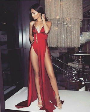 Red Spaghetti Straps Evening Dress with Double Slits PD1046