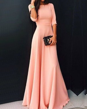 Pink Chiffon Jewel Prom Dress with Half Sleeves PD1047