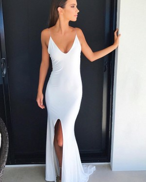 Long White Mermaid Spaghetti Straps Evening Dress with Front Slit PD1048