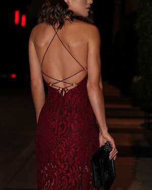 Spaghetti Burgundy Ankle Length Straps Lace Evening Dress with Slit PD1051