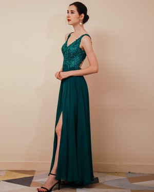 V-neck Green Beading Bodice Chiffon Evening Dress with Side Slit QS291042
