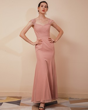 Square Neckline Peach Pink Ruched Mermaid Prom Dress QS291051