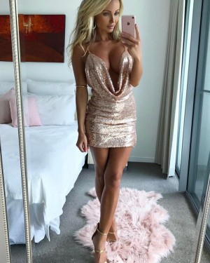 1dd3befcc87 -18% Gold Sequined Sheath Spaghetti Straps Tight Homecoming Dress HD3008