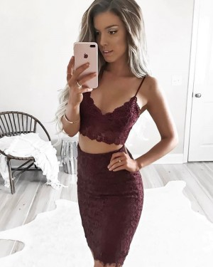 Burgundy Spaghetti Straps Two Piece Lace Tight Homecoming Dress HD3015