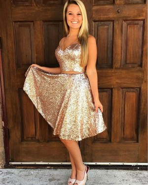 Two Piece V-neck Gold Sequined Knee Length Homecoming Dress HD3020