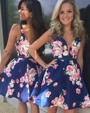 V-neck Satin Floral Print Deep Homecoming Dress with Beading Belt HD3021