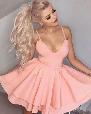 Simple Blush Pink Layered Satin Spaghetti Straps Homecoming Dress HD3023