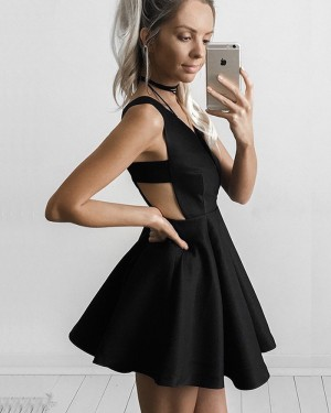 Simple Deep V-neck Pleated Black Satin Homecoming Dress with Cutout Waist HD3027