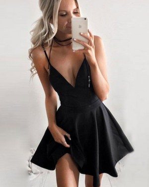 Simple V-neck Satin Black Spaghetti Straps Short Homecoming Dress HD3033