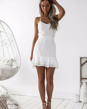 Tight Simple Spaghetti Straps Chiffon Homecoming Dress with Layered Hemline HD3043