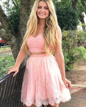 Pearl Pink Beading V-neck Two Piece Homecoming Dress with Lace Skirt HD3046