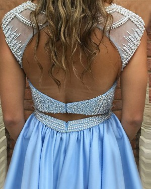 Light Blue Beading Bodice Jewel Satin Pleated Homecoming Dress with Pockets HD3047