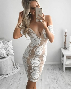 Sexy Tight Lace Short Off the Shoulder Graduation Dress with Short Sleeves HD3053